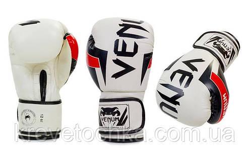 Перчатки кожаные боксерские белые FLEX на липучке VENUM ELITE, фото 2