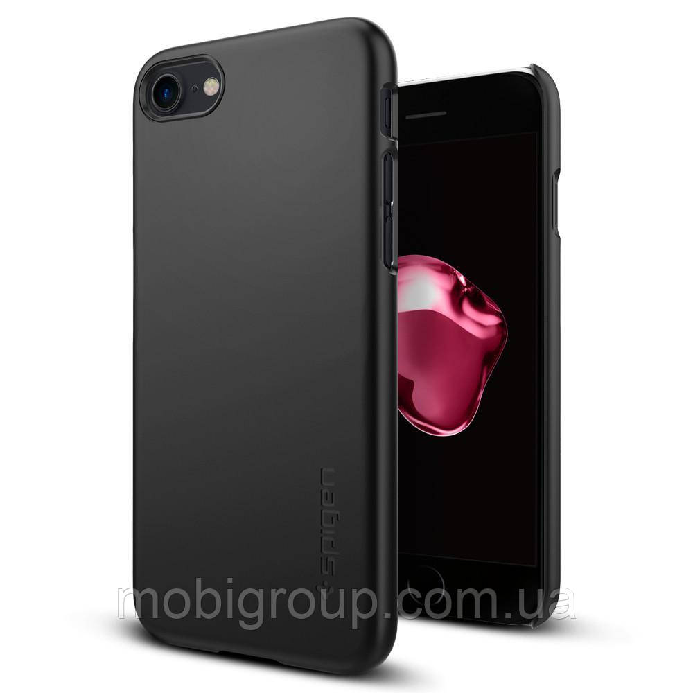 Чехол Spigen для iPhone 7 Thin Fit, Mat Black , фото 1