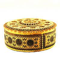 Шкатулка деревянная ручной работы диаметр 108мм