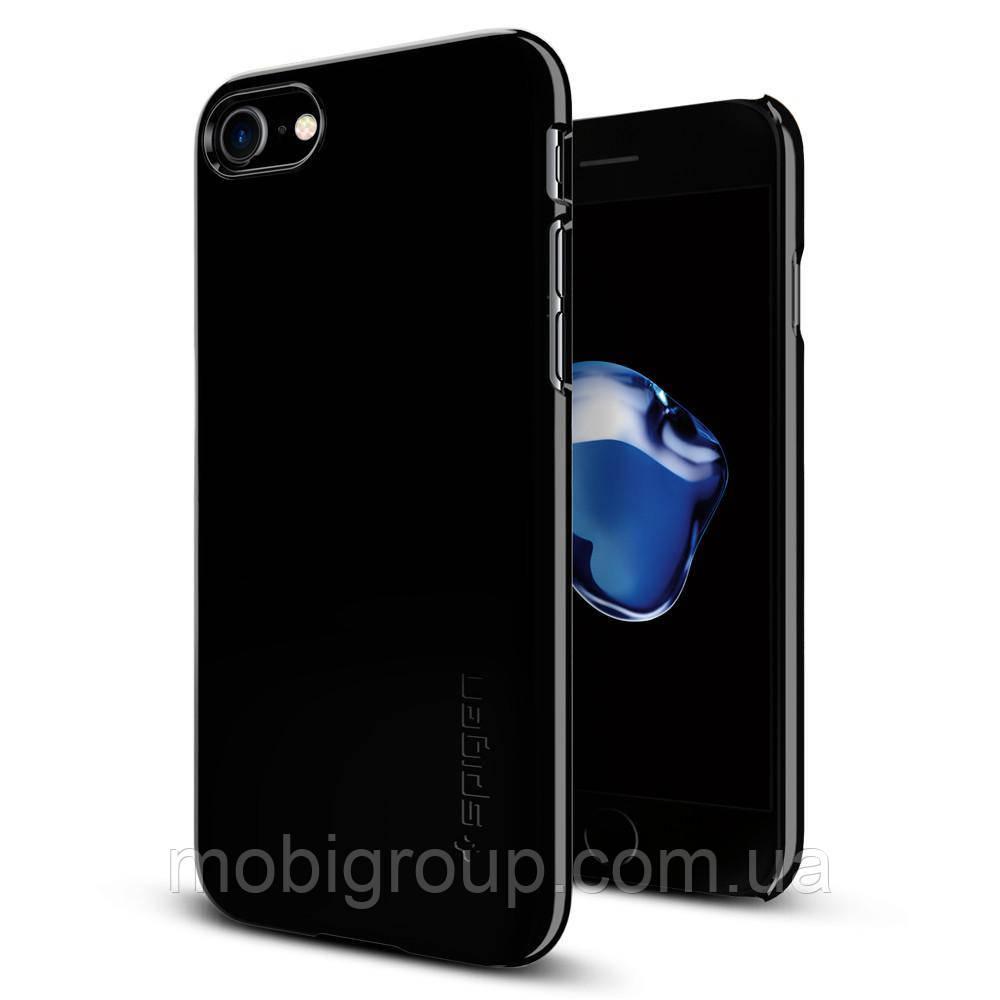 Чехол Spigen для iPhone 7 Thin Fit, Jet Black, фото 1