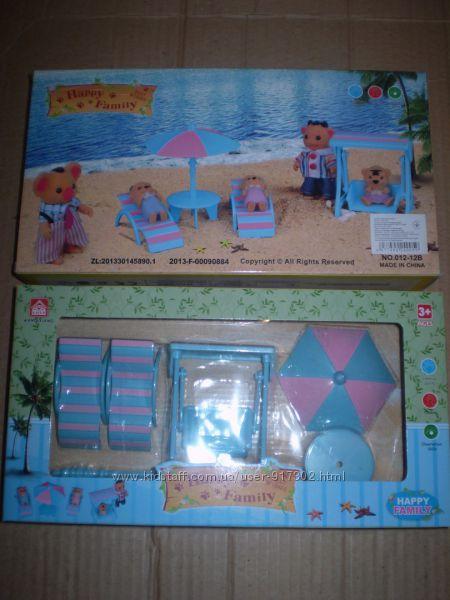 Пляжная мебель Happy family (аналог Sylvanian Families), для ЛОЛ