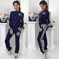 Спортивный женский костюм Adidas Адидас ткань турецкая двух нитка до 54 размера цвет синий с белым