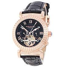 Мужские часы Patek Philippe Grand Complications Power Tourbillon Black-Gold-Black, механические, элитные часы, реплика, отличное качество!