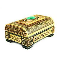 Шкатулка деревянная ручной работы с камнем Малахит