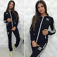 Спортивный женский костюм Adidas Адидас ткань турецкая двух нитка цвет  черный с белым 76fc01afb74