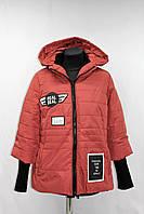 Куртка женская демисезонная с капюшоном, терракотовая, р 44-48