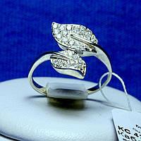 Серебряное кольцо с цирконом Листики кс 429, фото 1