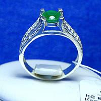 Серебряное кольцо с зеленым фианитом 821из