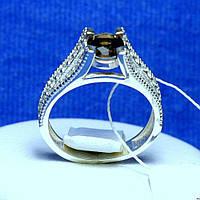 Серебряное кольцо с цирконием коричневым 821р топ, фото 1