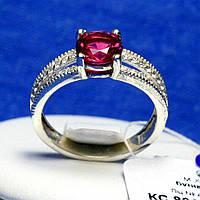 Серебряное кольцо с рубиновым цирконом кс 894р