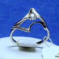 Кольцо родированное серебро с цирконом кс 1030