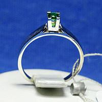 Серебряное кольцо с зеленым фианитом 1223з, фото 1