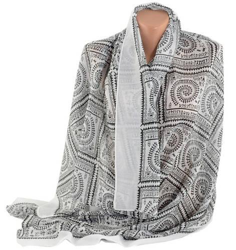 Широкий женский шарф, хлопок, 160х80 см, Trаum 2495-91, цвет белый.
