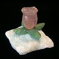 Декоративный цветок из камня, розовый кварц, авантюрин, кальцит (8 см.)