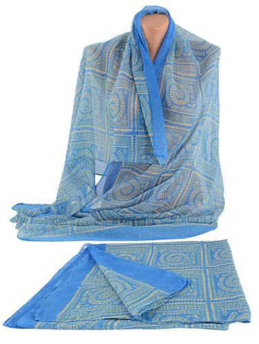 Стильный широкий женский шарф, хлопок, 160х80 см, Trаum 2495-92, цвет голубой.