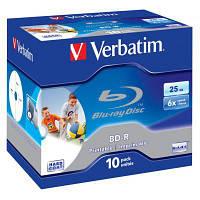 Диск BD-R Verbatim 25Gb 6x Jewel 10шт Printable (43713)