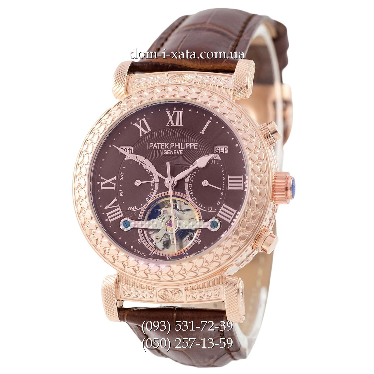Мужские часы  Patek Philippe Grand Complications Power Tourbillon Brown-Gold-Brown, механические, элитные часы, реплика, отличное качество!