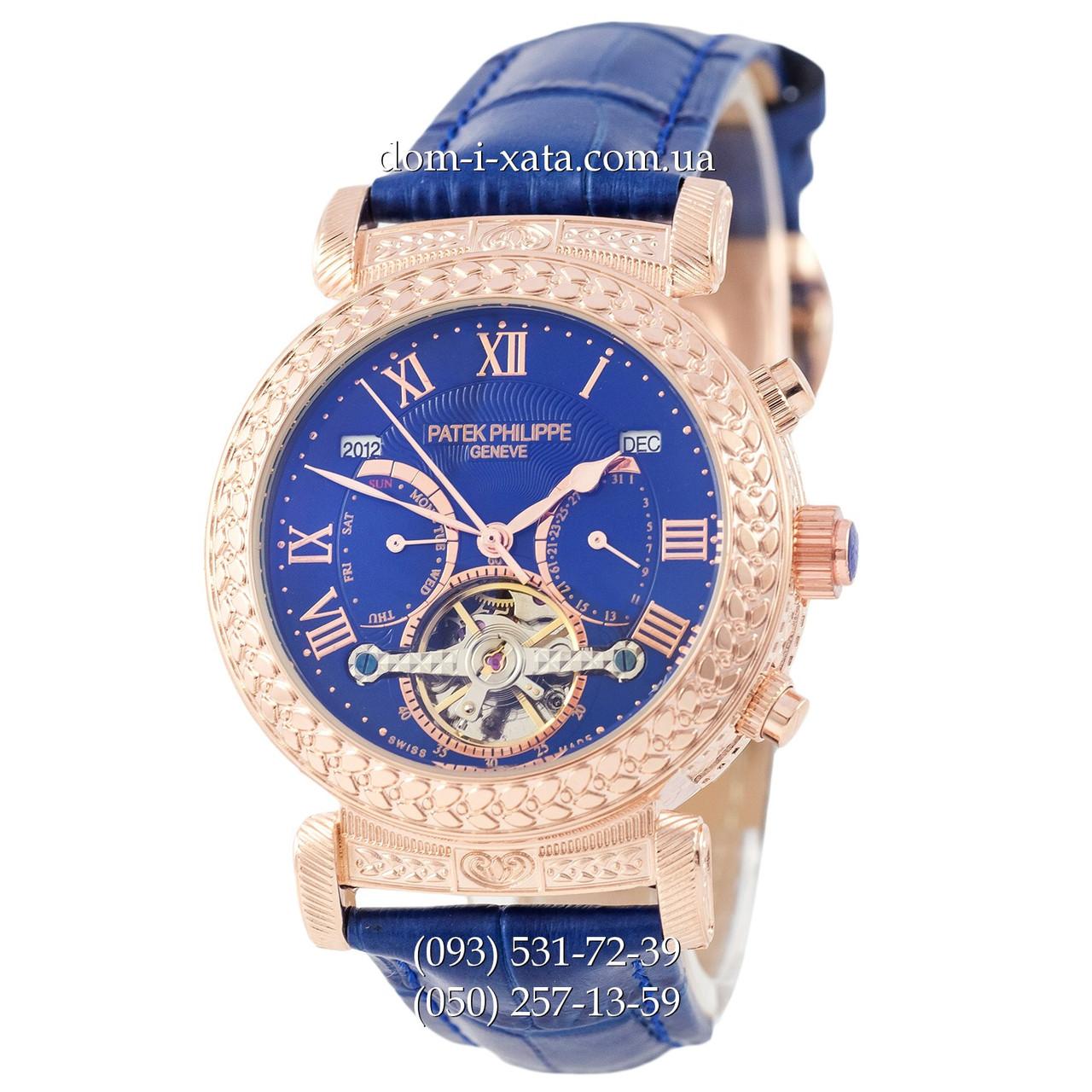 Мужские часы Patek Philippe Grand Complications Power Tourbillon Blue-Gold-Blue, механические, элитные часы, реплика, отличное качество!