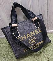 Модная женская сумка Chanel Шанель эко-кожа серая