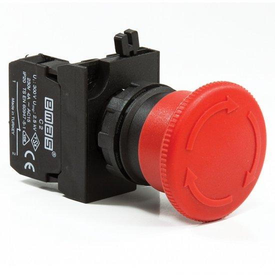 """Кнопка """"грибок"""" аварийная d = 30мм c фиксацией и возвращения поворотом (1НЗ) - пластик IP65"""