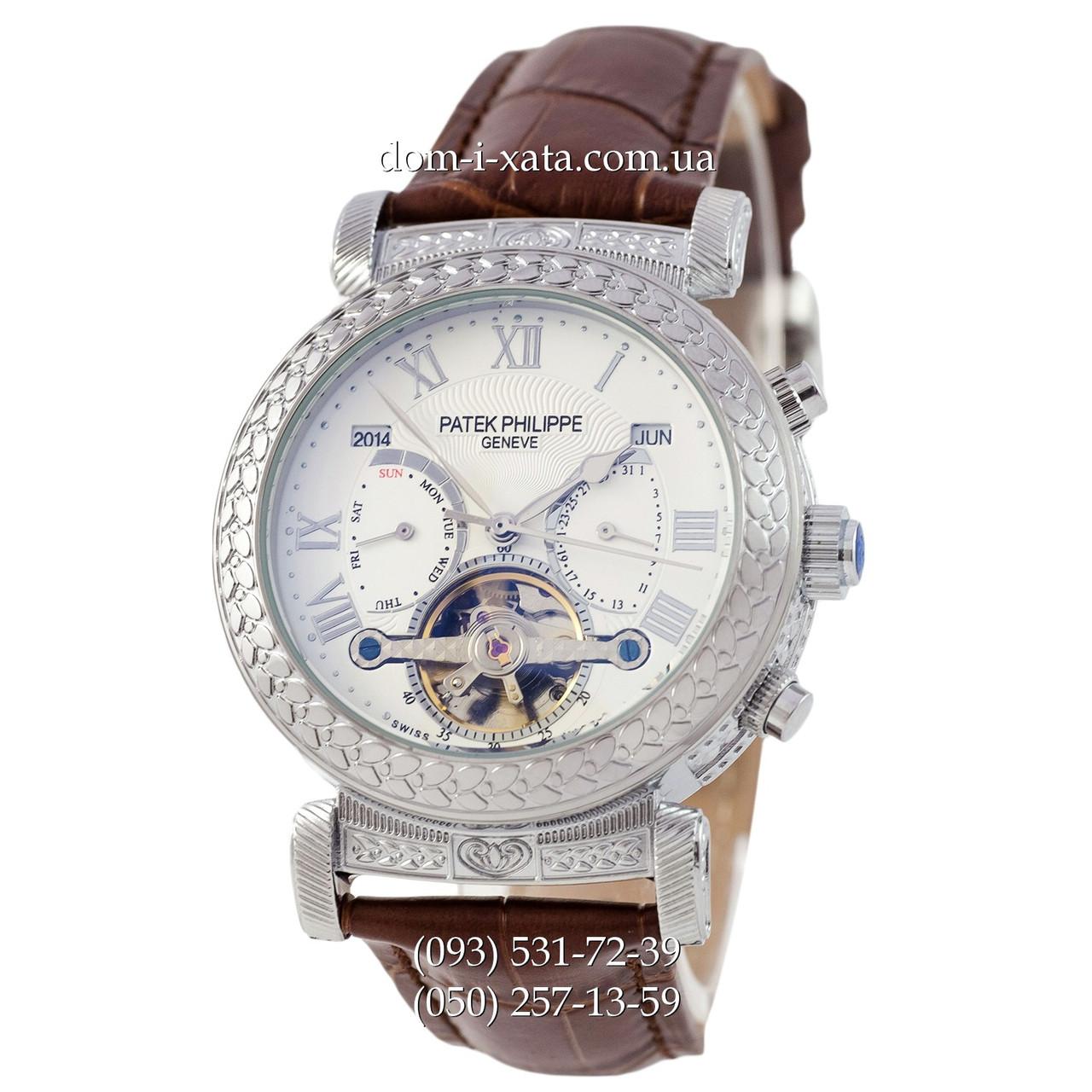 Мужские часы Patek Philippe Grand Complications Power Tourbillon Brown-Silver-Whit, механические, элитные часы, реплика, отличное качество!