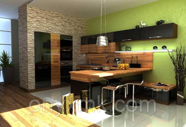 """Современная кухня """"Черный лак и дерево"""""""
