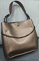 Женская брендовая сумка Guess Гесс с одной ручкой золотая