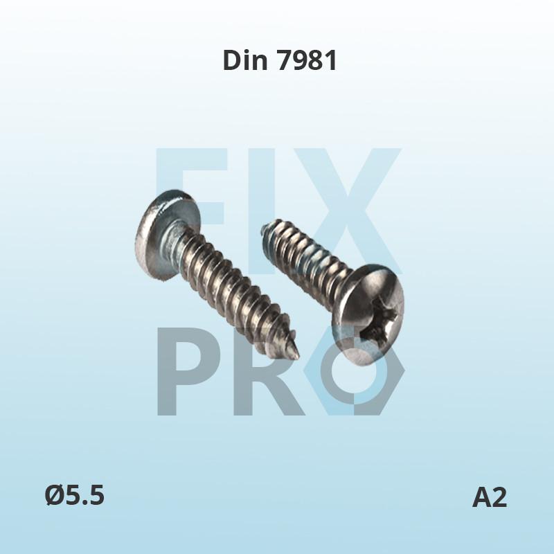 Саморез с полукруглой головкой нержавеющий Din 7981 М5.5 A2 ГОСТ 1144-80 шлиц Philips, Pozi или Torx - FixPro нержавеющие и высокопрочные метизы оптом и в розницу в Львове