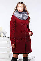 Пальто воротник декорирован съемным эко-мехом чернобурки