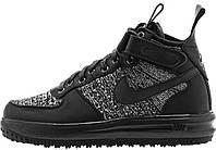 Мужские кроссовки Nike Lunar Force 1 Flyknit Workboot Black (Найк Лунар Форс) черные