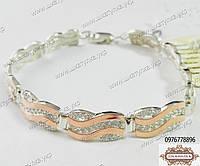 Серебряный браслет с золотом и цирконом , фото 1