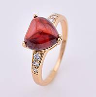 Кольцо 13312 размер 17, красный камень, позолота 18К, фото 1