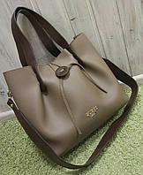 Женская брендовая сумка Guess Гесс качественная эко-кожа коричневая