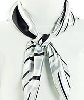 Женский очаровательный платок, атлас, 58х58 см, Trаum 2496-42, белый с черным.