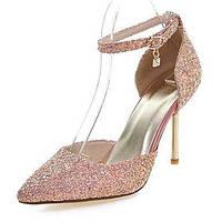 Черный / Зеленый / Розовый-Женская обувь-Для праздника-Материал на заказ клиента-На шпильке-Туфли лодочки / С острым носком-Обувь на 04923034