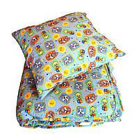 Детский набор:одеяло 140*105+подушка 45*50 холлофайбер ткань хлопок
