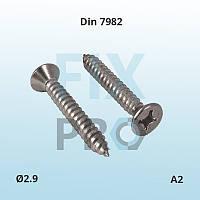 Саморез с потайной головкой нержавеющий Din 7982 М2.9 A2 ГОСТ 10619-80 шлиц Philips, Pozi или Torx