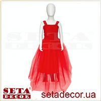 Детское длинное алое платье с пышной юбкой
