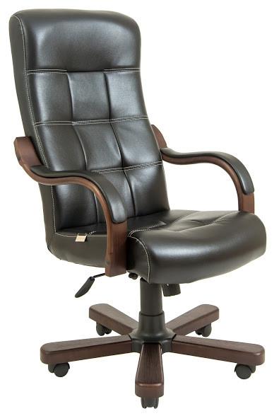 Кресло Вирджиния Вуд Люкс Орех механизм Tilt, кожзаменитель Титан Черный (Richman ТМ)