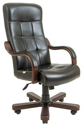 Кресло Вирджиния Вуд Люкс Орех механизм Tilt, кожзаменитель Титан Черный (Richman ТМ), фото 2