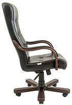 Кресло Вирджиния Вуд Люкс Орех механизм Tilt, кожзаменитель Титан Черный (Richman ТМ), фото 3