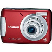 Фотоаппарат Canon PowerShot A480 Red, 1/2.3', 10Mpx, LCD 2.5', зум оптический 3.3x, SD, SDHC, SDXC, аккумулятор 2хAA, 140 г (витрина)
