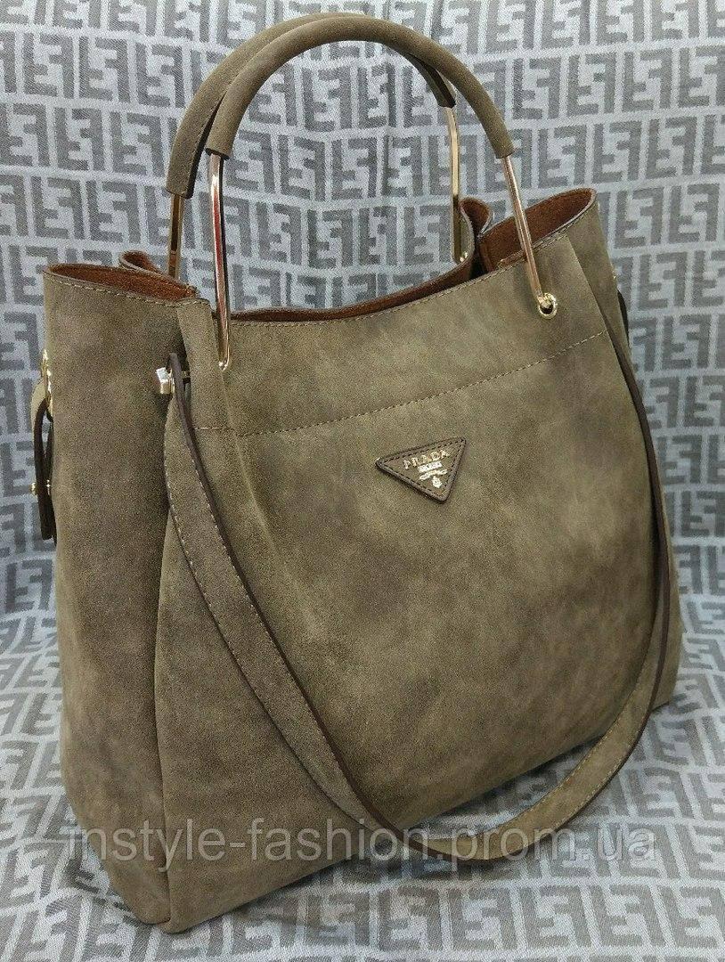 9ab83a1daa4c Сумка женская Prada Прада под нубук светло-коричневая: купить ...