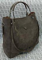 Сумка женская Prada Прада под нубук темно-коричневая