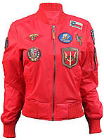 Оригинальный женский бомбер Miss Top Gun MA-1 jacket with patches TGJ1573P-S (Red)