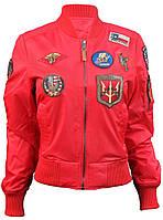 Женский бомбер Miss Top Gun MA-1 jacket with patches (красный)