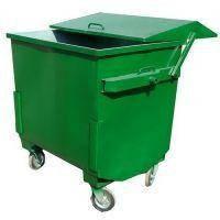 Евроконтейнер № 2 окрашенный на колесах с сдвижной крышкой для мусора 1,1 м³, сталь 2 мм