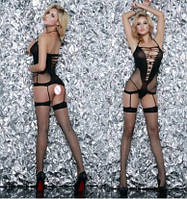 Пикантное платье сетка с чулками bodystokcing Эротическое белье