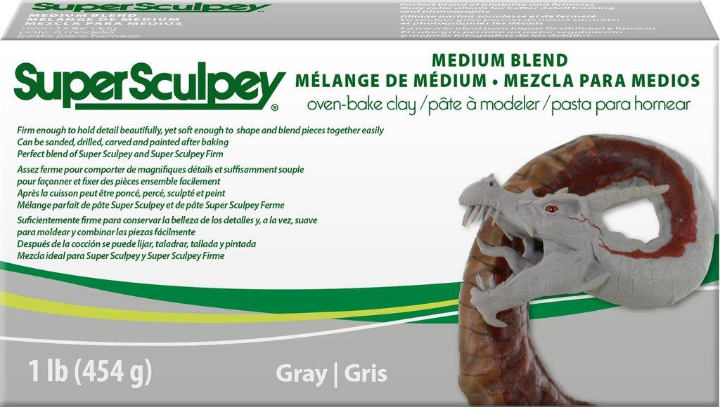 Полимерная глина Super Sculpey Medium Супер Скалпи Медиум, цвет - серый, 454г