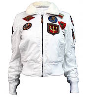 Женский бомбер Miss Top Gun B-15 flight jacket with patches (белый), фото 1